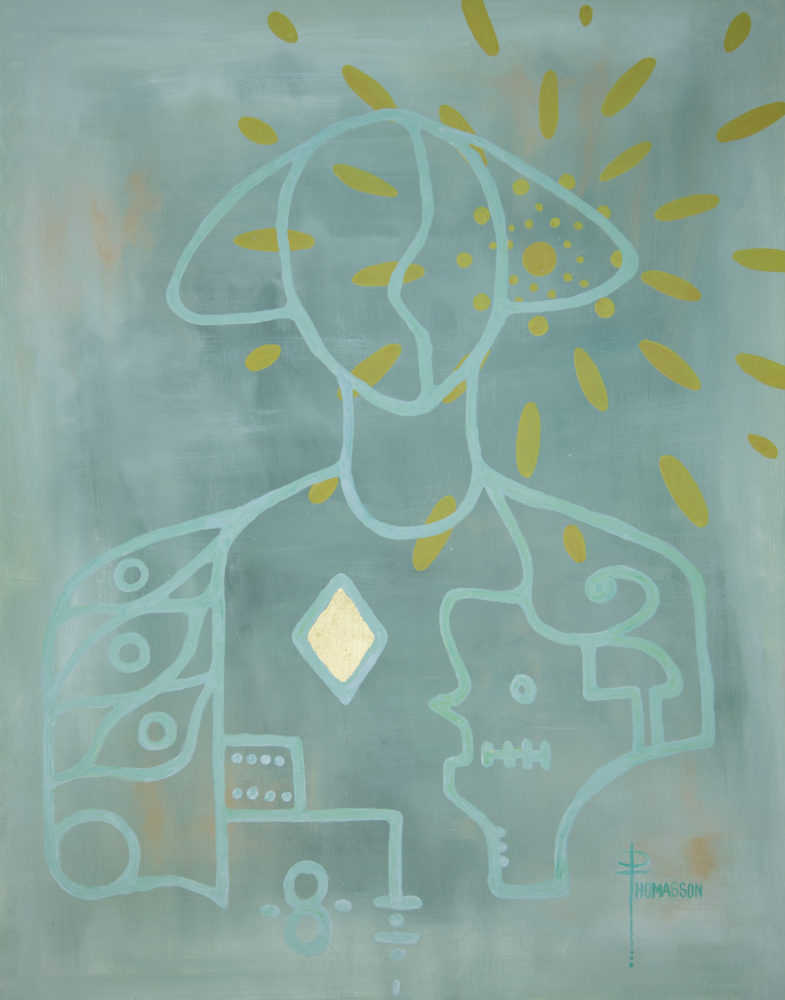 an abstract shape of a figure with gold leaf on a pale green background