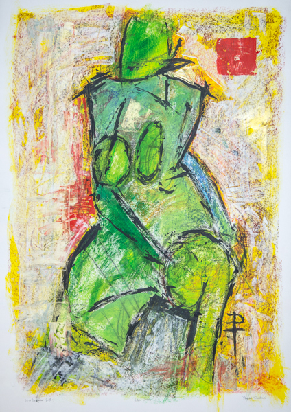 semi abstract painting of a nude woman by phoebe thomasson artist dorset uk