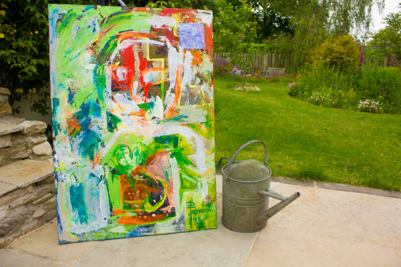 bright and bold painting abstract with a hint of a figure
