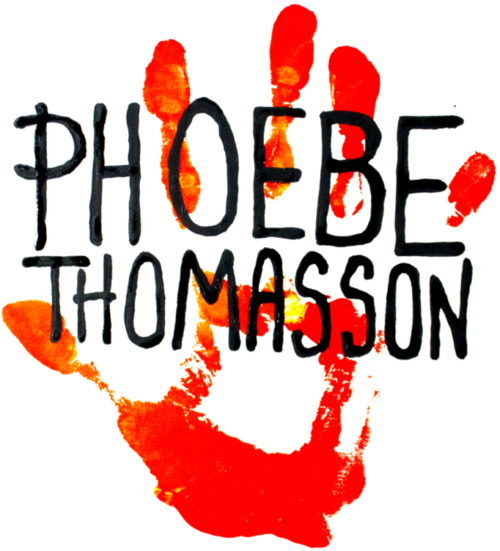 a red hand print in paint with the name phoebe thomasson in black ink