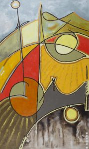 chunky abstract shapes form an abstract landscape with harvest colours reds oranges and browns