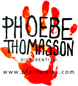 a red hand print with painted letters phoebe thomasson differentism