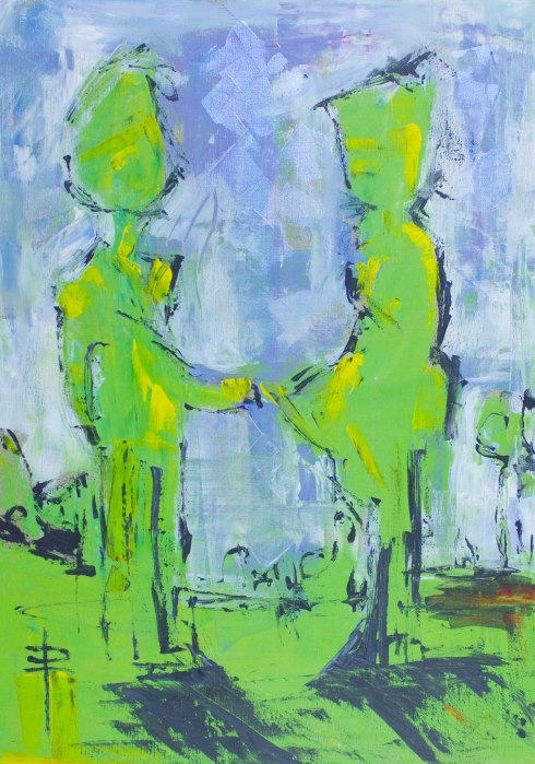 impressionist painting of two people meeting art painting by phoebe thomasson