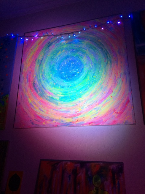 ultraviolet chakra wheel in pink and green painting by phoebe thomasson