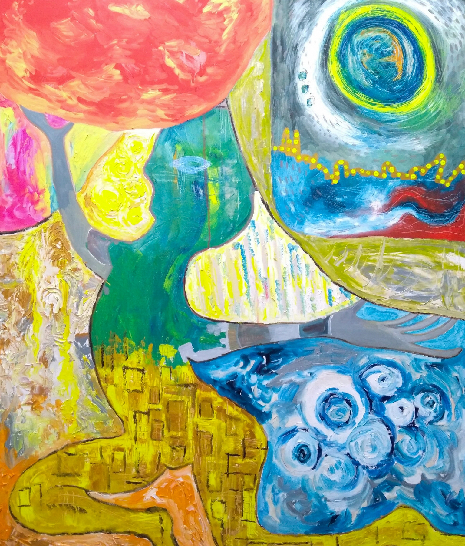 Bright colourful exuberant art: Acrylic expressionist painting by Phoebe Thomasson