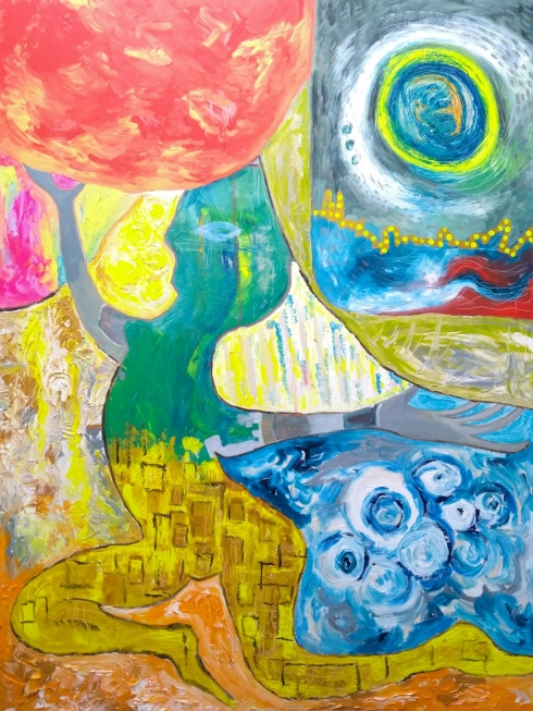 Acrylic expressionist painting by artist Phoebe Thomasson
