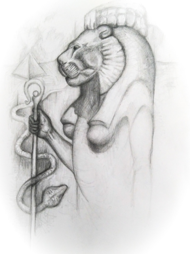 pencil drawing of lion head egyptian goddess sekhmet by artist phoebe thomasson