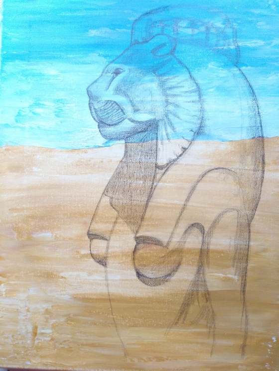Sekhmet the lion-headed Egyptian goddess pencil sketch acrylic on canvas by artist Phoebe thomasson