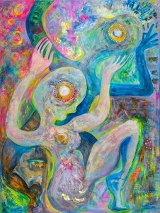 large colourful painting of abstract figures in acrylic on canvas by artist phoebe thomasson