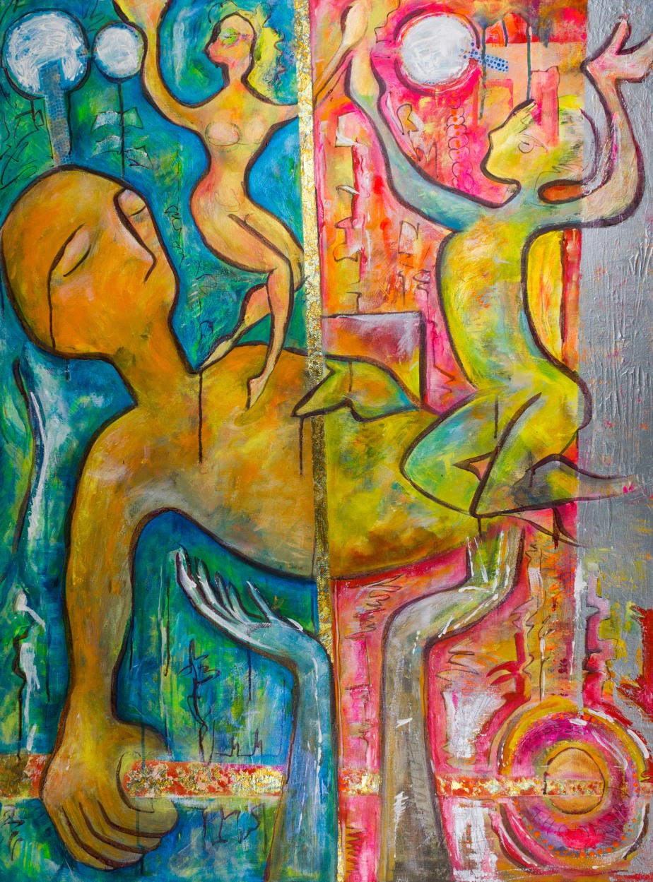 large format canvas acrylic painting of sleeping and dancing figures by artist phoebe thomasson