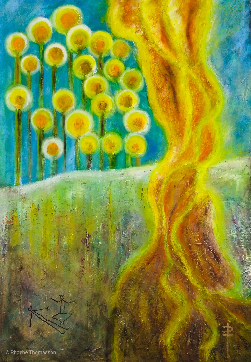 abstract oil painting of a plume of flames with small beads of light in the green landscape