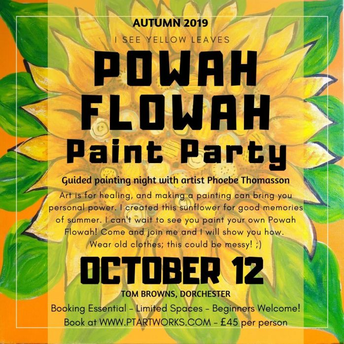 event flyer design for a paint party by phoebe thomasson on a yellow sunflower painting