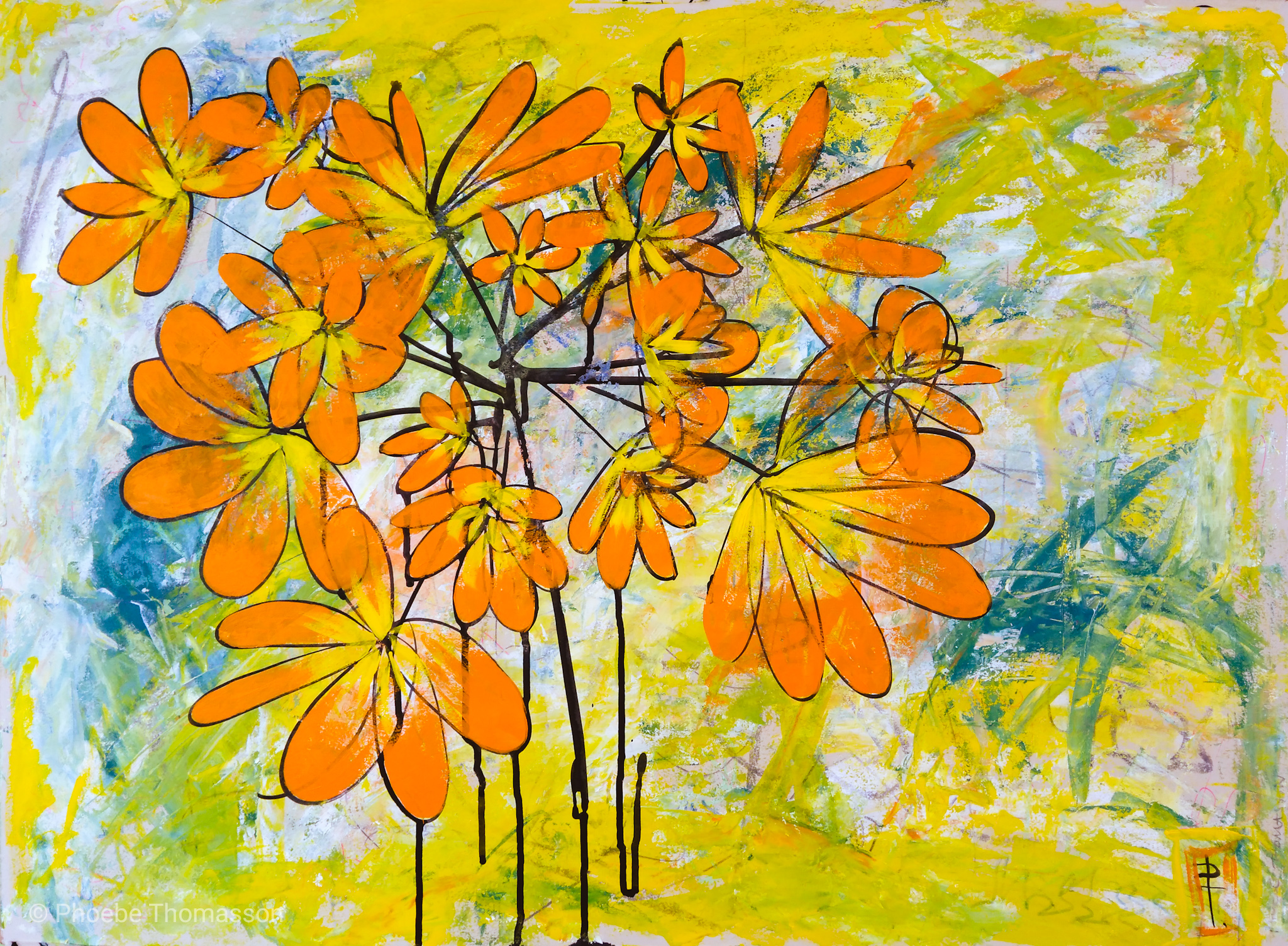 abstract flowers in orange bright painting
