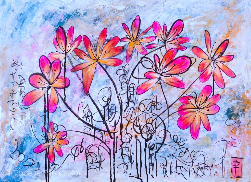 pink orange flowers on pastel abstract background painting by phoebe thomasson