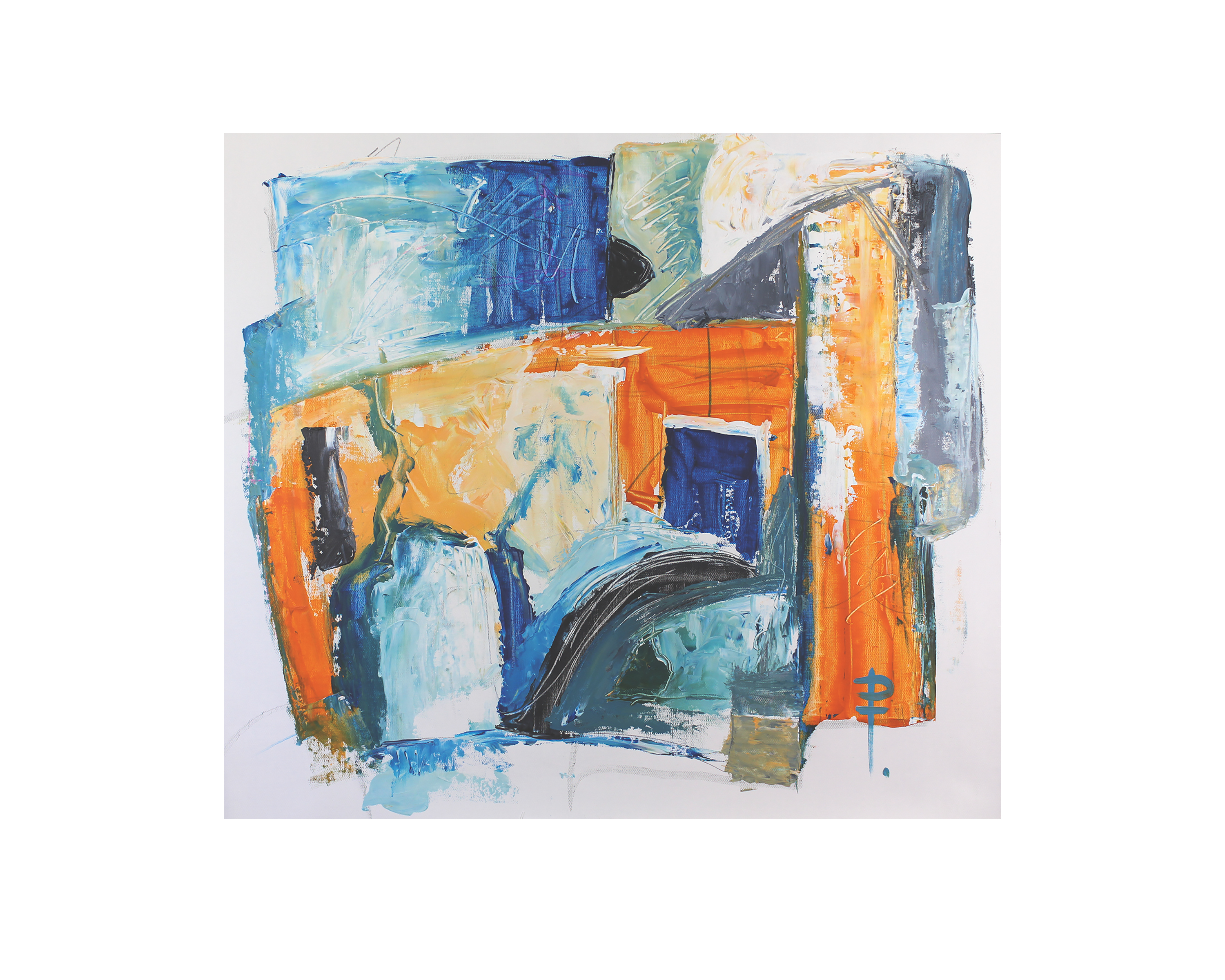 orange blue grey abstract painting on canvas by artist phoebe thomasson